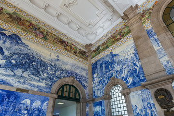 Ceramic Azulejos in Porto train station - Portugal