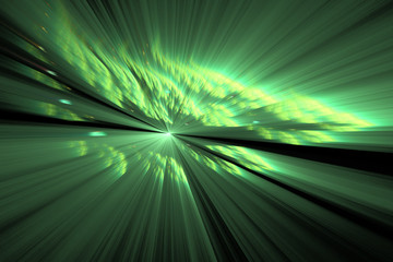 Glowing green rays on black background. Abstract fractal texture.