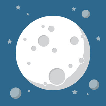 Moon in flat design style