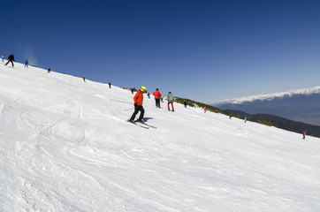 Skiers at Bansko, Bulgaria