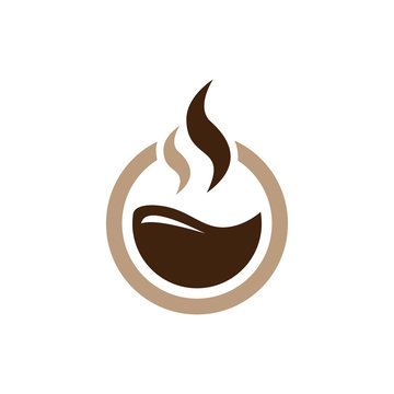 Circle Hot Coffee - Chocolate Simple Logo Icon Symbol