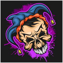 Evil scary clown. Halloween monster, joker character. Vector illustration