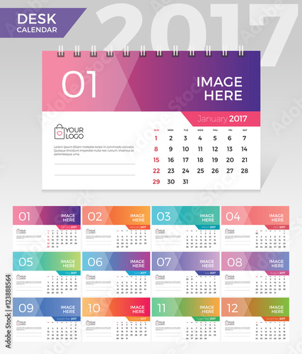 Desk Calendar 2017 Simple Colorful Gradient Minimal Elegant Desk