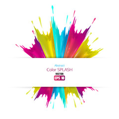 Abstract colored splashes isolated on white background. Vector illustration.