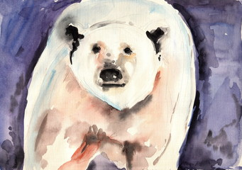 hand drawn watercolor polar bear isolated on blue background