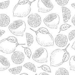 Seamless pattern with sketch lemons. Vector citrus background.