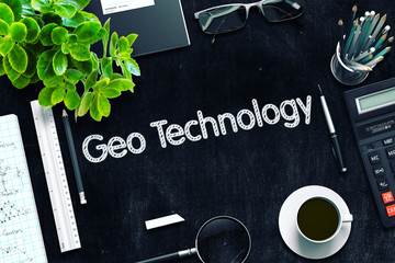 Black Chalkboard with Geo Technology Concept. 3D Rendering.
