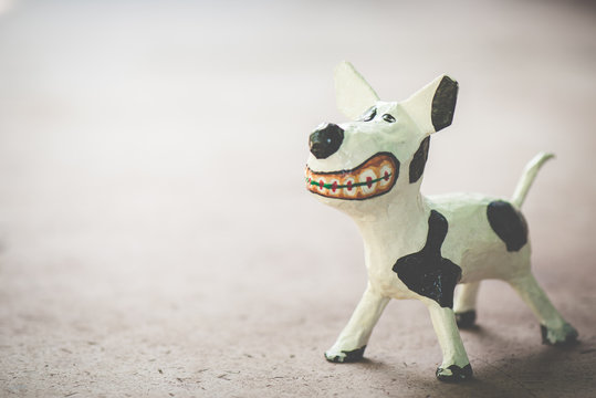 Sculpture dog ,made from paper mache