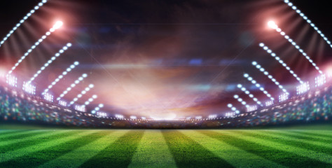 lights at night and stadium 3d render,