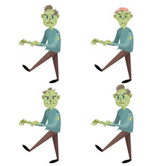 Cartoon walking zombies set. Trendy halloween party vector icons isolated on white background. Zombie with hair, without hair and zombie with brain.