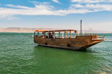 boat for tourists at lake of gennesaret, israel