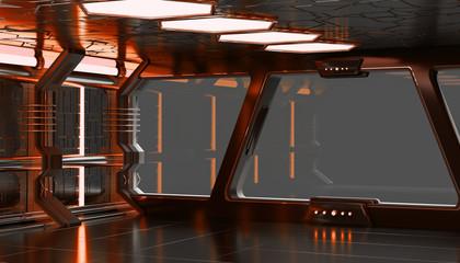 Spaceship orange interior 3D rendering elements of this image fu