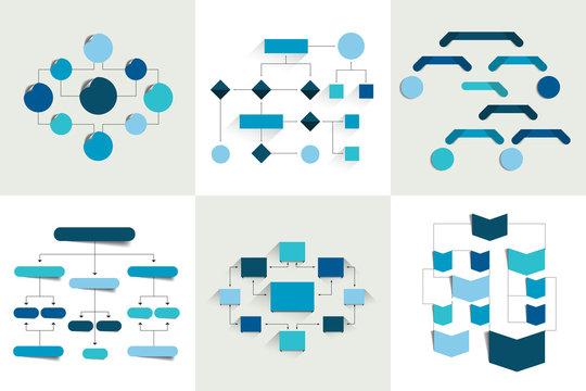 Flowcharts. Set of 6 flow charts schemes, diagrams. Simply color editable. Infographics elements.