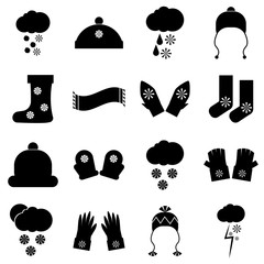 Winter clothes icons set. Simple illustration of 16 winter clothes vector icons for web