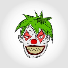 Evil Clown Face Illustration