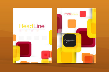 Vector colorful square business annual report cover
