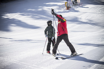 Skiers at Borovets resort, Bulgaria