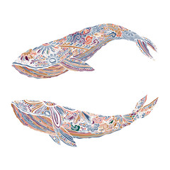 Large multicolored whale on a blue water background. An adult painted by hand in the art of different strokes, curls. zentangle style. Vector. The sad . Most sea, ocean fish, mammals.
