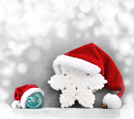 Christmas grey background with Santa hat.Happy new year.