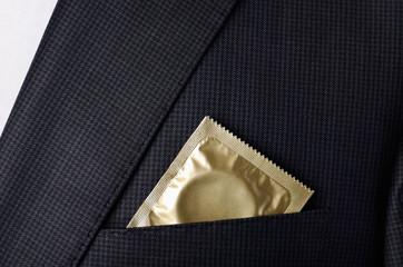 condom in the pocket suit jacket horizontal