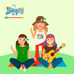 Vector illustration with three girls and guitar sitting on the yoga mat