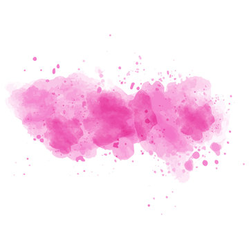 Pink watercolor painted  stain isolated on white background