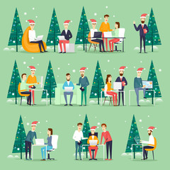 Merry Christmas and Happy New Year Office. Businesspeople office party, happy business group people in santa hat. Christmas tree. Xmas party. Characters. Flat design vector illustration.