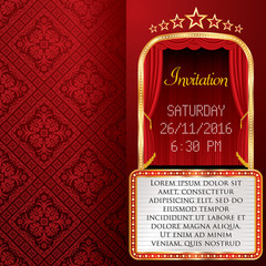 red stage invitation