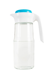 Jug of water and blue cap. On white, isolated background.
