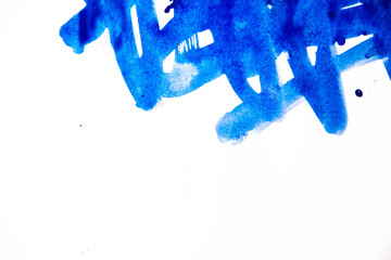 Cobalt blue watercolor background isolated on white. Watercolor blue background. sloppy strokes, and drops. copy space