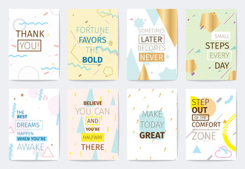 Set of cards with inspirational quotes.