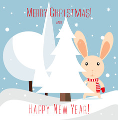 "Greeting Card Merry Christmas and happy New year!"" with a rabbit. Funny bunny rabbit with a gift near Christmas tree."