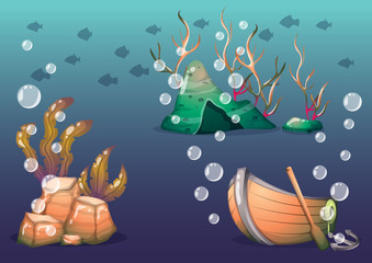 cartoon vector underwater objects with separated layers for game art and animation game design asset in 2d graphic