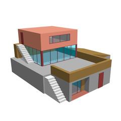 Modern house. Isolated on white. 3d Vector illustration.