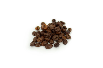 Roasted Coffee Beans Isolated On White