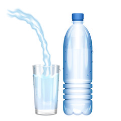 Water in bottle. Pouring water in glass. Vector illustration.