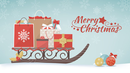 Christmas gifts and shopping bags
