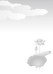 蓮の花 モノクロ