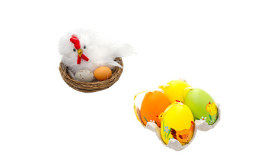Mother hen and Easter eggs
