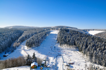 panoramic view of snow scape in winterberg, germany
