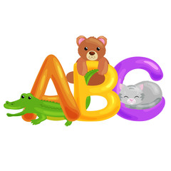 Abc animal letters for school or kindergarten children alphabet education isolated