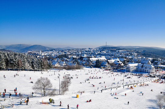panoramic view of slope in winterberg, germany