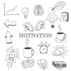 Hand drawn vector illustration set of motivation and buisness sign and symbol doodles elements.