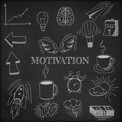 Hand drawn vector illustration set of motivation and buisness sign and symbol doodles elements, black chalkboard background.