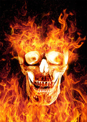 Flaming scaring skull isolated on black background