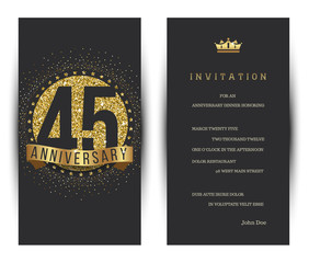 45th anniversary decorated greeting card template.