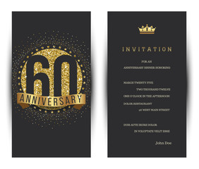 60th anniversary decorated greeting card template.