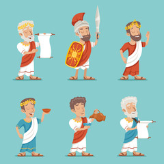 Greek Roman Retro Vintage Character Icon Set Cartoon Design Vector Illustration