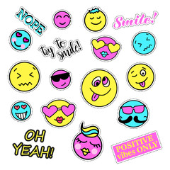 Pop art set with fashion patch badges. Smiles set. Stickers, pins, patches, quirky, handwritten notes collection. 80s-90s style. Trend. Vector illustration isolated. Vector clip art