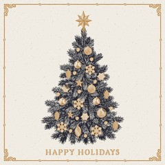 Christmas tree. Vintage greeting card with Happy Holidays inscription